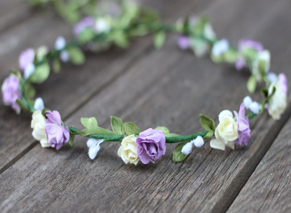 Purple and Ivory Floral Crown Garland Coachella Flower Crown | Wedding Flower Crown